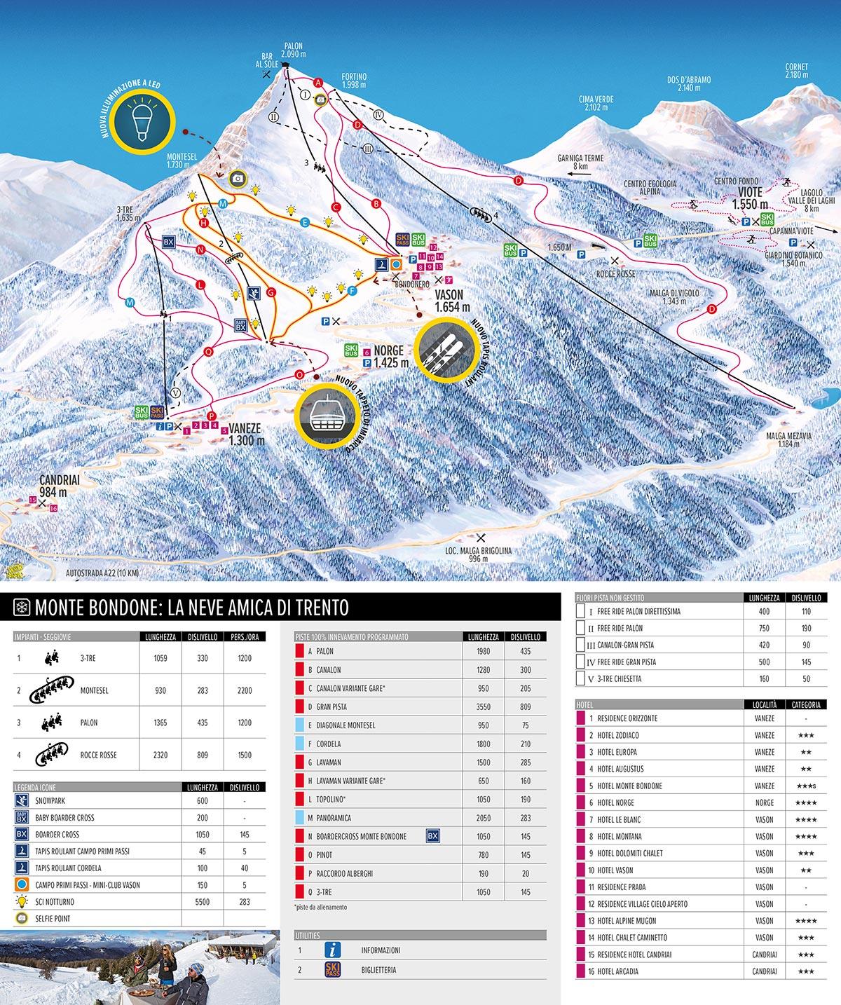 Monte Bondone - Ski-map